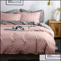 Bedding Supplies Textiles Home & Gardenbedding Sets Simple Style Comforter Set Queen King Sanding Bed Duvet Er Solid Color Bedclothes Quilt