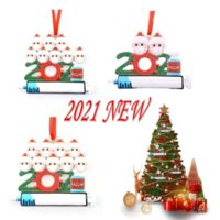 DHL Quarantine Personalized Christmas 2021 Decoration DIY Hanging Ornament Cute Resin Snowman Pendant Social Distancing Party DHL Fast Free Delivery