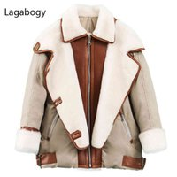 Lagabogia inverno mulheres grossas de 90% branco pato piloto jaqueta de couro vintage casaco de lã motocicleta