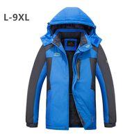Открытое восхождение зимнее ветровка флис теплые толстые водонепроницаемые ветрозащитные толстовки JAKCET PLUS размер 6xL 7xL 8xL 9XL кемпинговая одежда мужская джакке