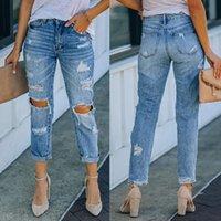 Women's Jeans Pants Women Fashion High Street Summer Solid Skinny Mid Waist Hole Zipper Slim Long Mujer De Moda Denim Trousers