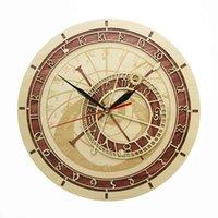 Prague Astronomical Clock in Wood Czech Republic Medieval Astronomy Wall Art Astrology Decorative Wall Watch Artwork Prague Gift A0607