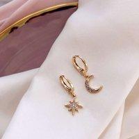 Nuovo arrivo Corea Fashion Dainty Jewelry Gold 316L Stainls Steel Moon and Star Pendant Orecchini Le donne irregolari 2021
