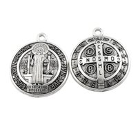 Catholicism Round 3D St Benedict Medal Antique Silver Cross Charm Pendants L1727 40.2x34.9mm Jewelry Findings Components 12pcs lot