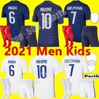 Adultos Kits Kits 2021 França National Team Mbappe Griezmann Pogba Jerseys 21 22 Futebol Jersey Kante Camisas de futebol Thauvin Maillot de pé
