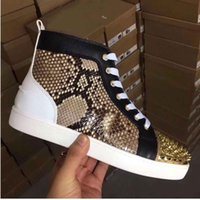 LOUBOUTIN CHRISTIAN Elegant Designer Python Leather With Spikes Red Bottom Men's Sneaker Shoes For Women,Men Studs Luxurys Red Soles Cas DDp