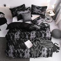 41 Conjunto de cama Super King Duvet Cobertura Conjuntos 3pcs Mármore Solteiro Queen Size Black Stone Cama de Roupa de cama de algodão 200x200 1461 v2