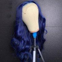 Lace Wigs Blue Human Hair Front Pre Plucked Brazilian Virgin 13x4 Frontal 180% Density