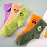 1 pairs women thermal fluffy socks autumn-winter new year socks girls and woman's new fashion warm avocado cherry eggplant socks