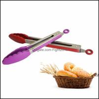 Outras ferramentas Cozinha, Bar de jantar Home Gardensle BBQ Tenaz Tongs Cozinha Salada Serviço de Tongo Aço Inoxidável Lidar com Dicas BPR Utensílio F