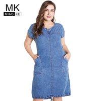 Летние дамы плюс размер джинсовые платья для женщин одежда круглые карманы шеи элегантные 4xL 5xL 6xL большое вечеринка платье 210608