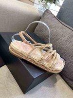 Frauen Beige Sandalen Mode Top Qualität Hanfseil Hausschuhe Wohnung Heeel Kette 35 bis 40