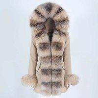 OFTBUY Su Geçirmez Kış Ceket Kadınlar Gerçek Kürk Doğal Gerçek Rakun Kürk Kapüşonlu Uzun Parkas Giyim Ayrılabilir 211020