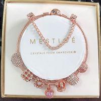 Designer 925 Sterling Silver Charm Bead fit European Pandora Bracelets for Women DIY Rose Gold Pink Heart Crystal Ball Pendant C