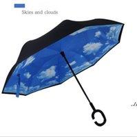Invertire la maniglia dell'ombrello Stampa di stampa FIMBRIA antivento protezione solare Piega doppia strato rovesciato Invertito Rains Gear Mare Way DWA5688