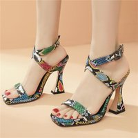 Dress Shoes Sexy Snake Print Gladiator Sandals Women High Heels Women's Summer Woman Party For Top Brand