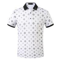 Мужские дизайнеры Поло рубашки мужчины повседневная полоса мода письмо печати вышивка летом футболка высокая улица хлопок размер M-3XL