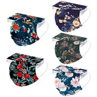 Cosplay Bandana 50pcs Disposable 3ply Filters Mask Adult Floral Printed Breathable Reusable Mask For Face Halloween Cosplay