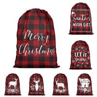 هدية التفاف الأحمر والأسود منقوشة حقيبة الحقد مع الرباط عيد الميلاد سانتا كيس عيد الميلاد أكياس تخزين القطن حزب لوازم للحسنات الحلوى