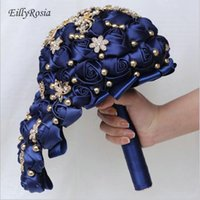 Wedding Flowers Navy Blue Satin Roses Jewelry Brooch Bouquet For Bride Waterfall Elegant Custom Made Color Cascading Bridesmaid