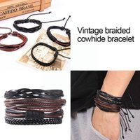 Tennis 4Pcs set Vintage Leather Bracelet Woven Bangles Multilayer Male Wristband For Men Boys Birthday Gift Jewelry V3R7