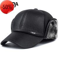 Winter new men's hat imitation leather baseball cap fashion ear winter outdoor warm old man's