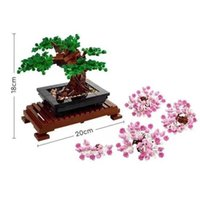 في الأوراق المالية بونساي شجرة اللبنات باقة روز الزهور الطوب هدية للبنات المنزل تجميع diy لعبة 10280 10281 Q0624