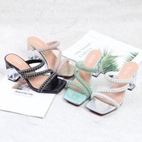 Sandals KM-ROYA Summer Narrow Band Rhinestone Sexy Slippers Shoes Women Crystal High Heels Lady Pump Party
