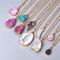 Металлическая цепь целебного заживления энергии Ожерелье для женщин Окрашенные натуральные кристалл Agat Druzy Minerals GEM Камень кулон