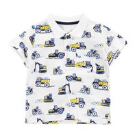 Jumping meters Summer Baby Boys Polo Shirts Short Sleeve Excavators Print Clothes Cotton Breathable Kids Tops Outwear 210529