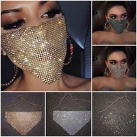 Trendy Bling Rhintone Face Mask Jewlery for Women Body Jewelry Night Club Decorative Jewellery Party Mask