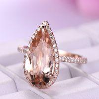 Boutique neue große Tropfen Edelsteine Frauen Ringe Hohe Kupfer Rose Gold Diamant Ringe Modeschmuck Großhandel