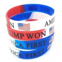 US STOCK Trump a remporté l'Amérique premier bracelet en silicone Fête favoriser le bracelet de campagne de drapeau des États-Unis