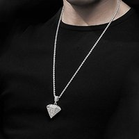Iced Out Pendant Necklace With 4mm Zicron Tennis Chain Bling Rhinestone For Men colar masculinoCC8S