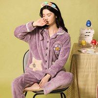 Moda Feminino Coral Fleece Terno de Lady Warm Winter Pijamas Sleepwears Mulheres Lazer MS