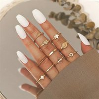 Cluster Rings 10Pcs Set Alloy Crown Open Ring Set Five-Pointed Star Peach Heart Finger For Women's 2021 Trend