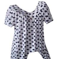 Women's Blouses & Shirts Women Plus Size Female Clothing Leisure Summer Dot V Neck Print Daily Short Sleeve Tops Shirt Casual Vintage Haraju