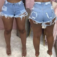 Pantaloncini da donna Plus Size Light Blue RIPPED Cut Out Denim con nappa Donne Streetwear Streetwear High Vita Hollow Sexy Hole Jean Femmina