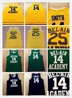 Dikişli Film Bel-Air'in Taze Prensi # 14 Smith Akademisi 25 Carlton Bankaları Siyah Yeşil Sarı Basketbol Jersey İşlemeli Dikişli