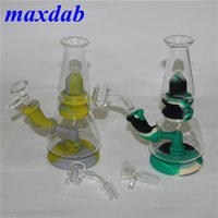 Silicone Smoking pipes Water Bongs glass Oil Rig Hookah Bubbler Tobacco Pipe With bowl 4mm Quartz Banger Dab Rigs Reclaim Catcher