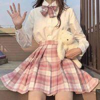 JMPRS Plaid Mujeres Pleated Bow Knot Summer High Cintura Preppy Girls Dance Mini Falda Linda Una línea Harajuku Sexy Japón Faldas
