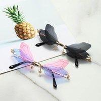Moda Rimless Dragonfly Wing Sunglasses Mulheres Vintage Clear Oceano Lente Eyewear Homens Rosa Amarelo Sol Óculos Tonalidades UV400