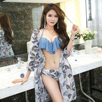 Maiô 2020 novo swimsuit sul-coreano três peça manga longa smock rufa ganhou sexy biquíni conservador maiô mulher