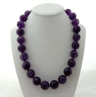 "20"" 14mm Natural Faceted Round Purple Crystal Necklace 38"" Chains"