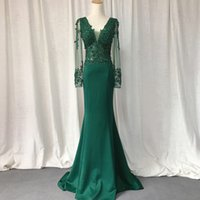 Green Prom Dresses 2021 Elastic Mermaid Dress Women Appliques Lace Formal Party Gown Long Sleeves V Neck Emerald Evening