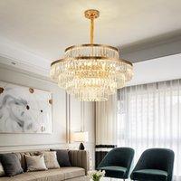 Lampe à pendentif en or de luxe Rond Double mariage Hall Hall Salon Kristall Kronleuchter Post Moderne K9 Cristal Crystal Chandelier pour la maison