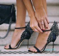 Sophia webster Evangeline Angel-wing high heel Sandal New Butterfly Rhinestone Studded Leather Sandals With Fine Heel Sandals--