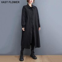 Women's Trench Coats 2021 Autumn Winter Black Oversized Long Coat For Women Clothes Turn Down Collar Fashion Casual Loose Outerwear Cardigan