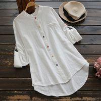 Blusas femininas Camisas Faylisvow Plus Size Branco Blusa de Algodão Linho V Neck Manga Longa Tops e Senhoras Do Outono 5XL Túnica Blusa