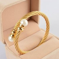 Pearl Open Bracelet Men And Women Regardless Of Titanium Steel Wire Gold Stainless Bangle